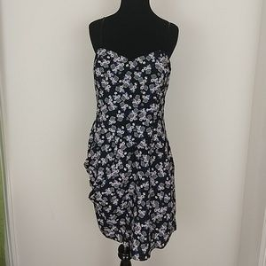 BCBGeneration Black Floral Dress side rusching 8
